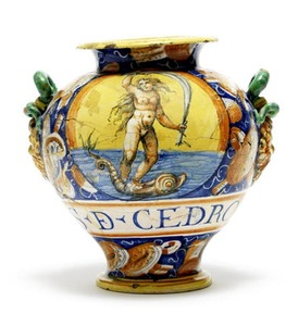 A Castel Durante Maiolica Apothecary Jar, circa 1580. Estimate: $3,400 - 5,100. Fine European Ceramics