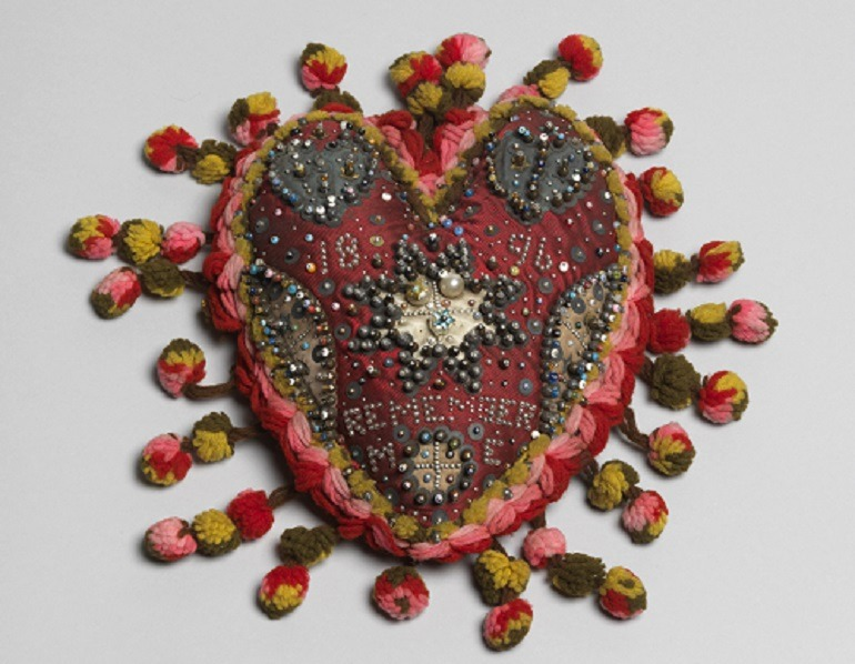 Images- Embroidery with beads by unknown artist part of the British Folk Art exhibition at Tate Britain
