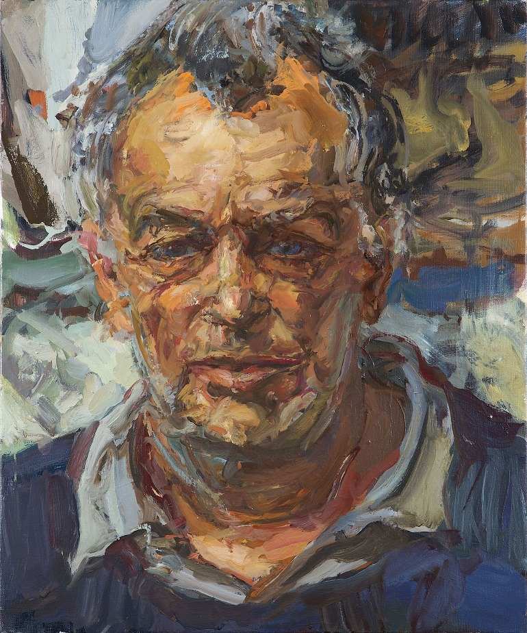 Image- Art- portrait of Stephen Frears 'The Film Director' painted by the artist Catherine Goodman.