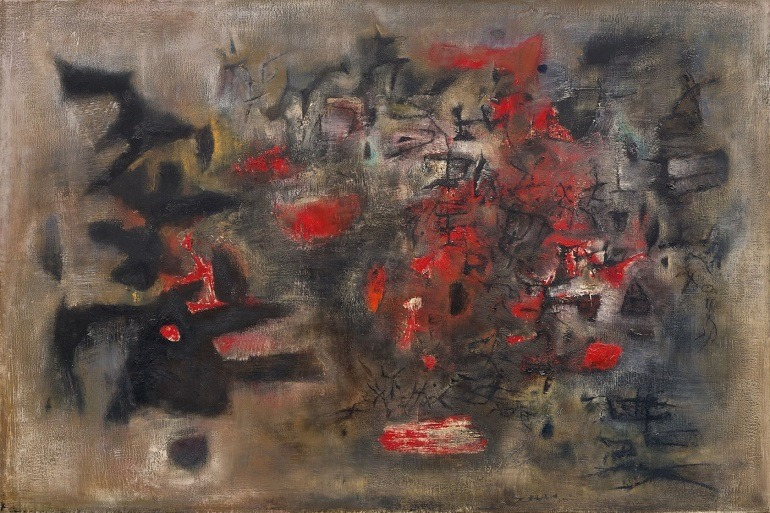 Image: Oil on canvas painting titled Debut d'Octobre by Zao Wou-Ki, a modern Asian artist sold at Sotheby's auction for record auction price -Asian art