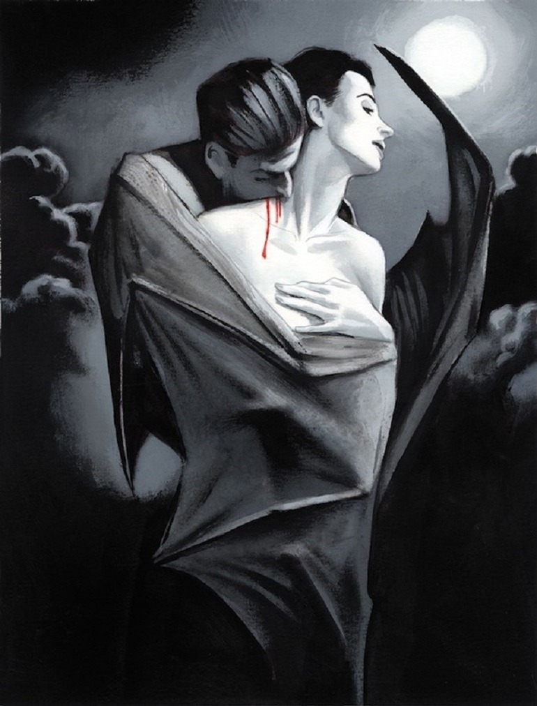 Image: Dracula bites a beautiful woman showing his love and desire for blood in Dracula - Illustrated Edition illustrated by Fernando Vicente