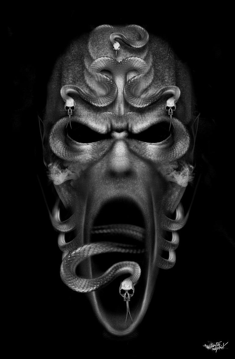 Image: Halloween Snake Skull by art director and illustrator Obery Nicolas-Digital art