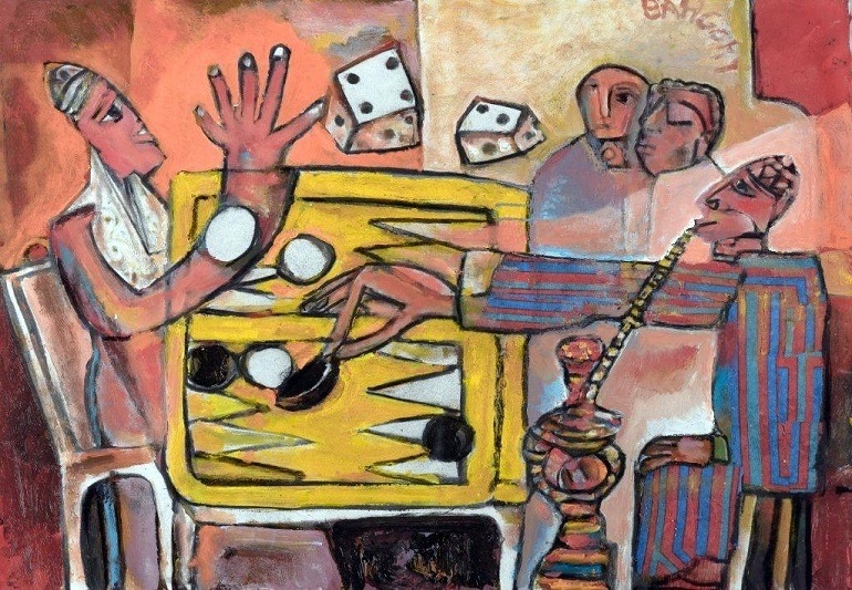 Image: Backgammon II, Oil on Canvas painting by Egyptian artist George Bahgory