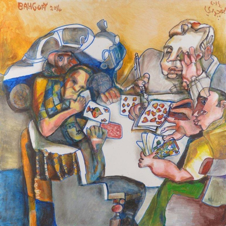 Egyptian Artist Celebrates Lifestyle and Culture in Egypt Image: Playing Cards, oil on canvas by Egyptian artist George Bahgory