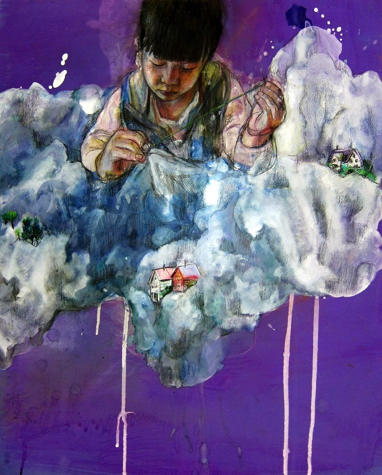 Image: Vivian Ho's ' Castle in the Cloud',  a pastel, poster color and color pencil on paper shows a Chinese woman in a dreamland -Everyday life in Hong Kong