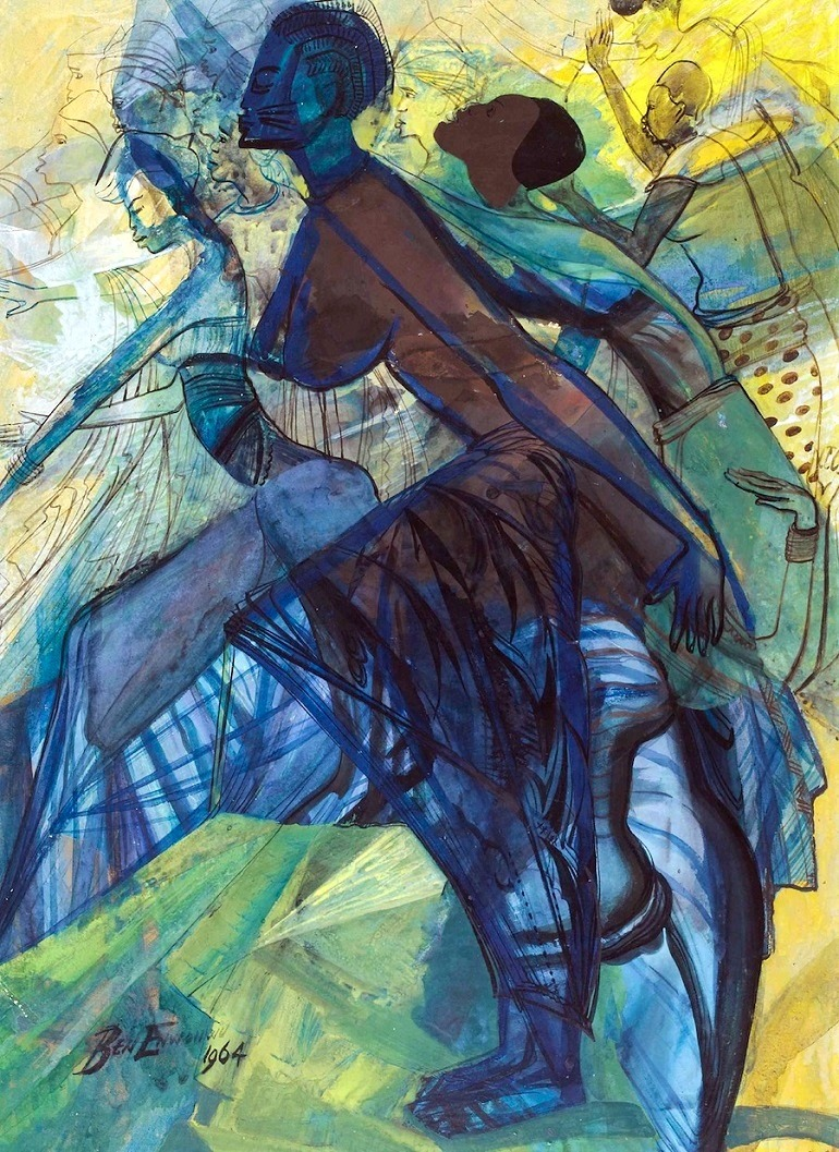 Image: Ben Enwonwu, Africa Dances is a watercolour painting showing African women dancing, a theme explored by many African artists