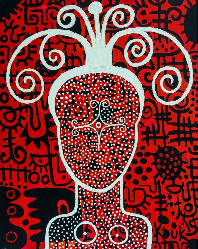 Victor Ekpuk, Asian Uboikpa (Hip Sista) #10, 2014, one of the paintings investigating the importance of hairstyles and body markings of women in Diaspora