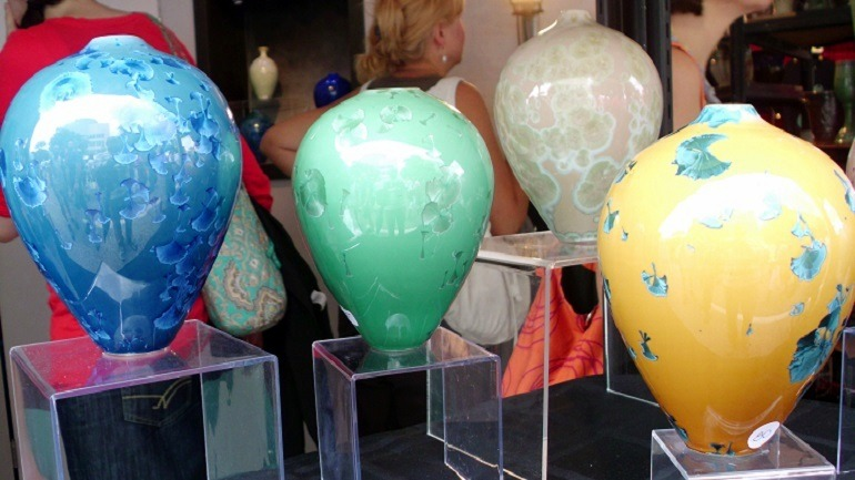 Image: Crystallin Glazed Pottery by Greg Pace Pottery on display at the Artscape Festival-Art News