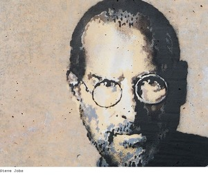 Image: Detail of Steve Jobs by Banksy at the Calais Refugee camp