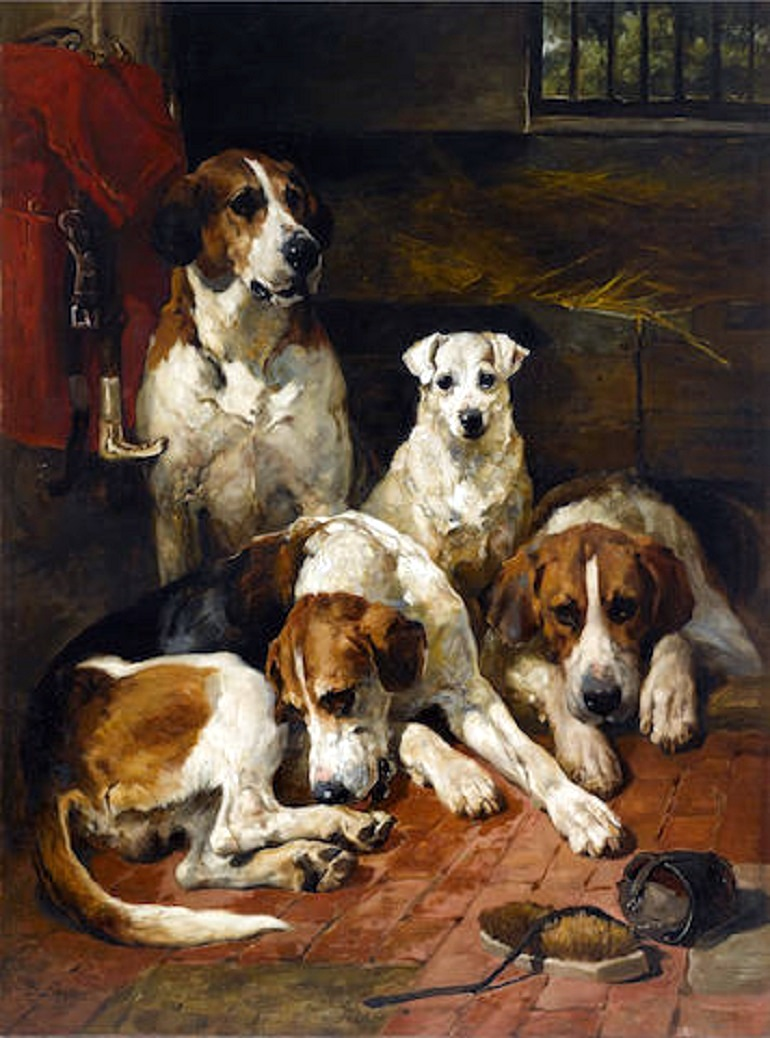 Image: John Emms Hounds and a Terrier in a Kennel is one of the painting of dogs expected to make record price at auction