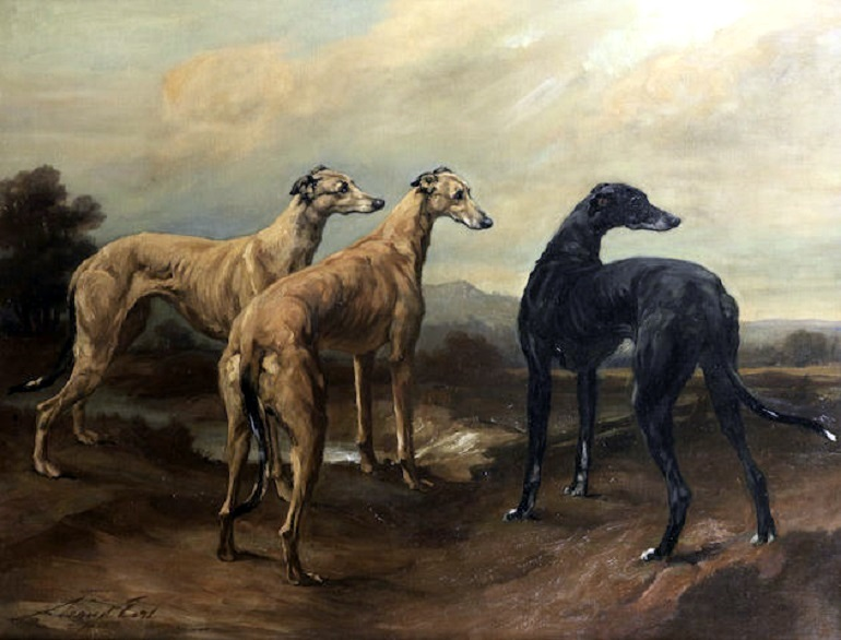 Image: Maud Earl's Greyhounds in a Landscape is one of the painting of dogs with character