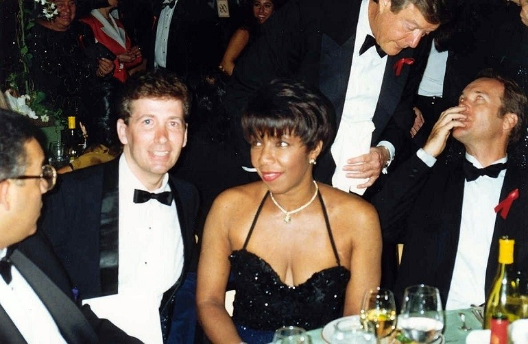 Image: Ken Lillig with singer Natalie Cole at the Governor's Ball after the 1992 Emmy Awards.