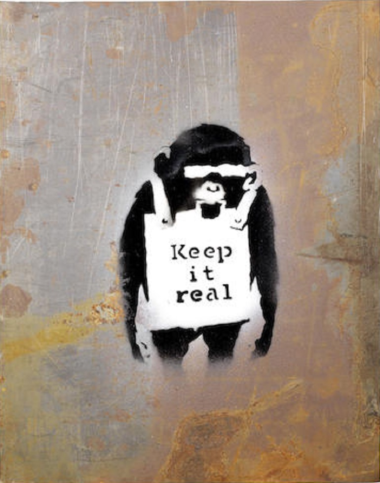 Image: Banksy Keep it Real 2006, stencil spray paint on found steel sheet, mande great showing in an auction led by Frank Auerbach