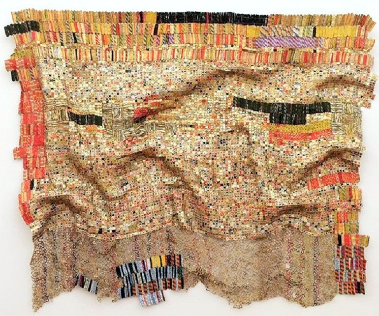 Image: Peju's Robe 2006, by El Anatsui was one the works sold at Bonhams, where Frank Auerbach painting topped sales