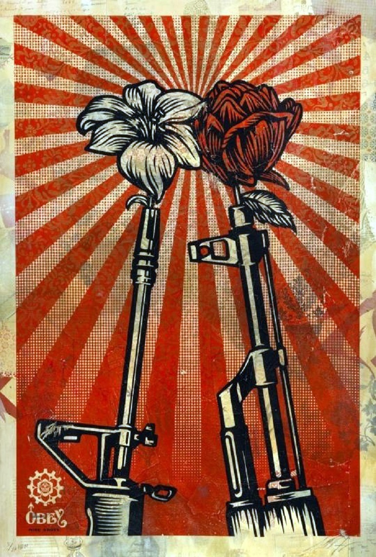 Image: Shepard Fairey, M16 VS AK 47 (2006), is one of the works to be auctioned at the Julien's Auctions/Artsy Street Art Now auction