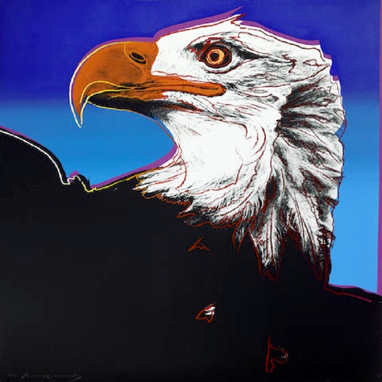 Image: Andy Warhol, Bald Eagle, from Endangered Species is one of the important Warhol art series. Screenprint in colors on Lenox Museum Board