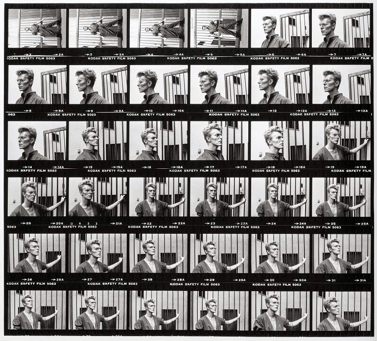 Image: Helmut Newton's David Bowie, Monte Carlo, 1983. Gelatin silver contact sheet enlargement added to the generated by the photographs of childhood innocence