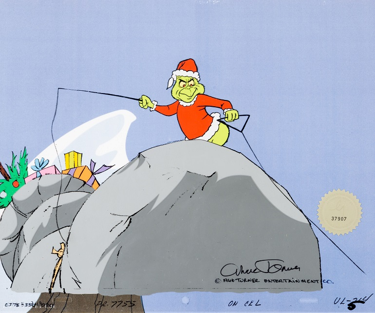Image: Doctor Seuss How the Grinch Stole Christmas Production Cel Setup and Animation Drawing