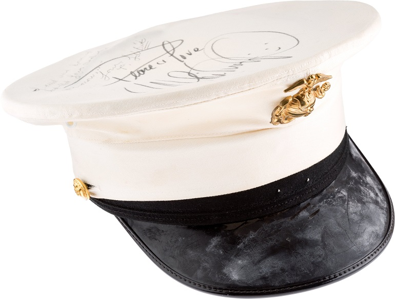 Image: Whitney Houston signed United States Marine cap worn during the HBO Special Welcome Home Heroes, 1991