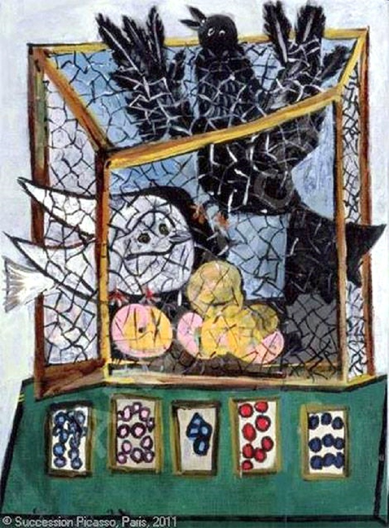 Image: Birds in a Cage by Pablo Picasso documents two beautiful women and lovers, Dora Maar and Marie-Thérèse Walter, fighting over him