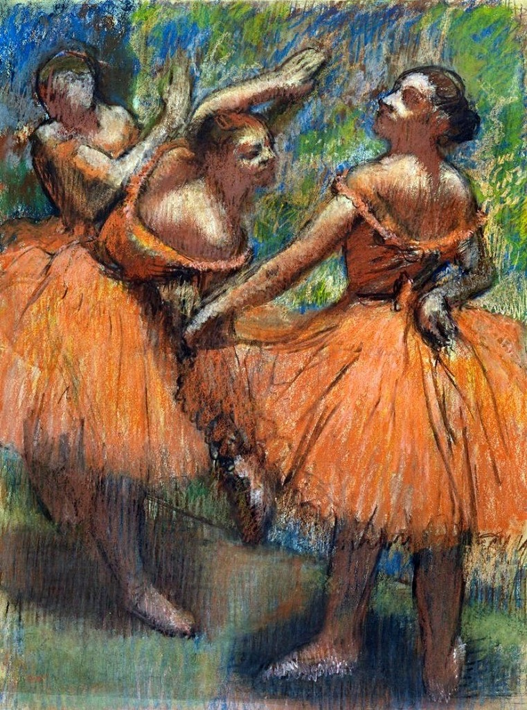 Image: Group of Dancers (Red Skirts) by Edgar Degas, is one his paintings focused on ballerinas and dancers -770 x 1036