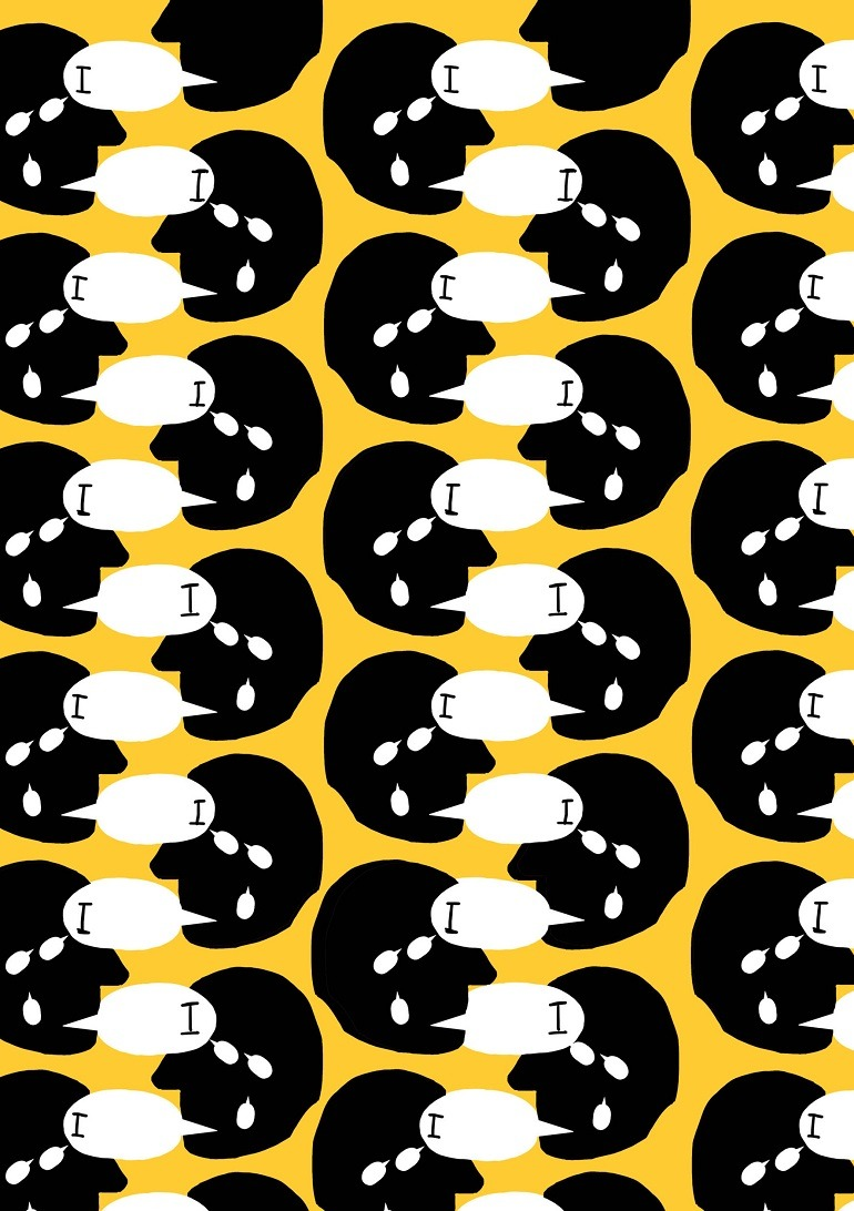 Image: I, I, I, is a cadmium yellow, black and white print design by Emma Hart, winner of the Max Mara Art Prize for Women 2016 on display at Whitechapel Gallery
