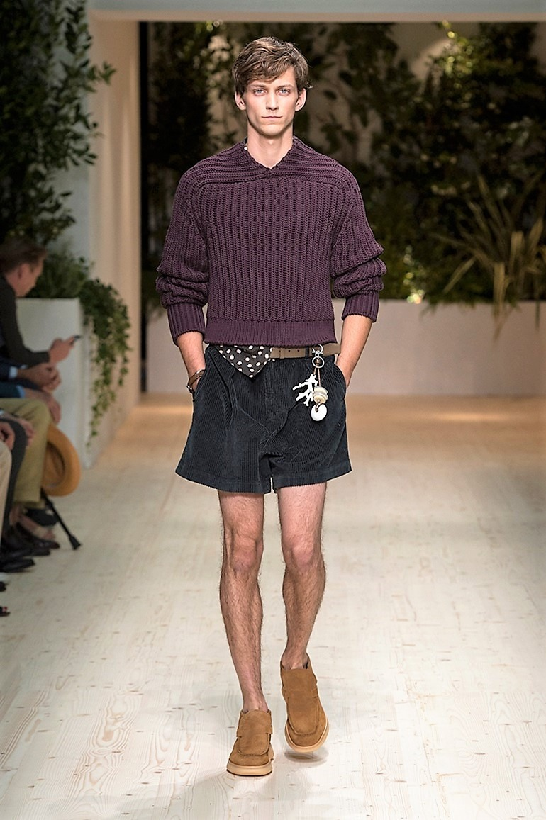 Image: A male model in a sweater and black short on the runway during the launch of Salvatore Ferragamo Men's Spring Summer 2018 collection -06