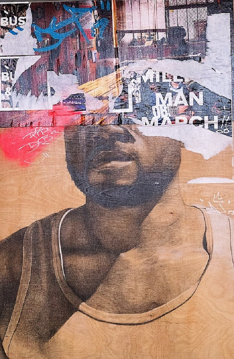 Image: A Collage painting with the portrait drawing of a man by Darius Frank, winner of seventh Bombay Sapphire Artisan Series, was part of the exhibition 'Things I Loved' in Washington DC