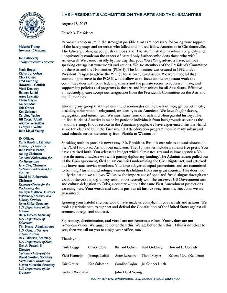 Charlottesville Virginia-Image: Letter of Resignation posted on Twitter by the President's Committee on the Arts and the Humanities after the Charlottesville violence