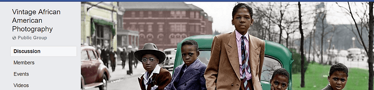 Image: Portraits of several African American on the banner of Art of Portrait, one of the Facebook Photography Groups that celebrate African American