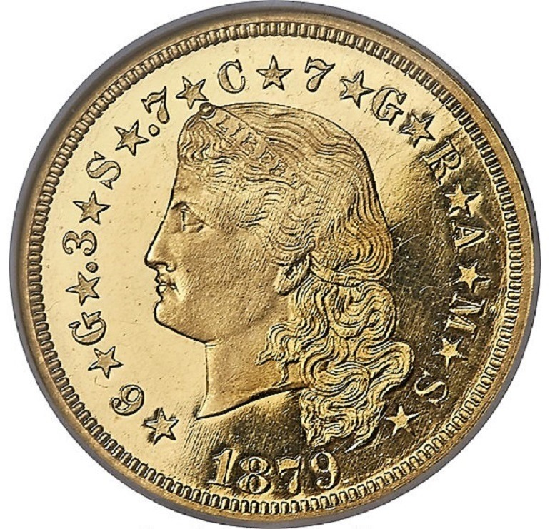 Image: 1879 Flowing Hair stella is one of the rare coins from the Kerry Rudin Collection at Heritage Auctions that Numismatists will get the opportunity to collect during the Florida United Numismatists Convention in Tampa