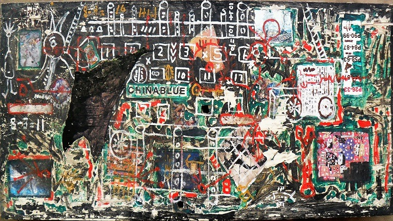Image: A painting on wood composite titled Phone factory is one of the works from the Almost Art Project, Beijing that will presented during the Outsider Art Fair New York Edition