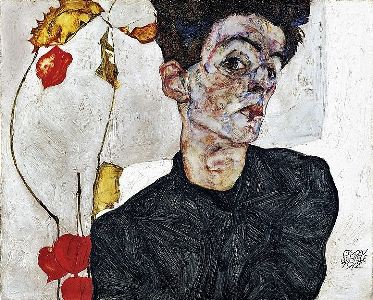 Image: Self Portrait with Chinese Lantern Plant, a 1912 painting by Egon Schiele, is one of the works in the Fondation Louis Vuitton's blockbuster exhibition on the artist this autumn